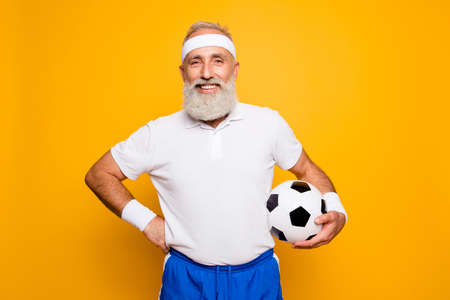 Crazy aged serious athlete pensioner grandpa