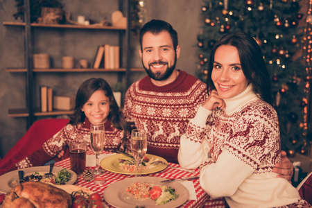 Three beautiful cheerful gathered relatives, setted festive desktop, full of yummy treats, married couple, girl, in knitted traditional x mas costumes, decorated room, bon appetite! Stock Photo