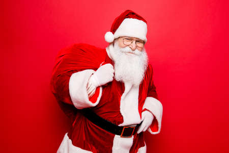 Holly jolly x mas festive noel miracles and magic time! Funny santa in headwear, costume, black belt, white gloves brings a lot of gifts for kids, ready, prepared, sale promotion concept