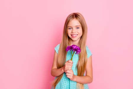 青い休日のドレスでかわいい甘い魅力的な女の子の肖像画は、彼女はピンクの背景に隔離された3つの紫色の花を保持しています、
