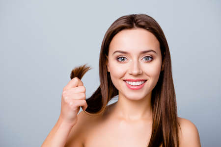 Concept of finding a good solution in treating damaged hair ends. Stock Photo