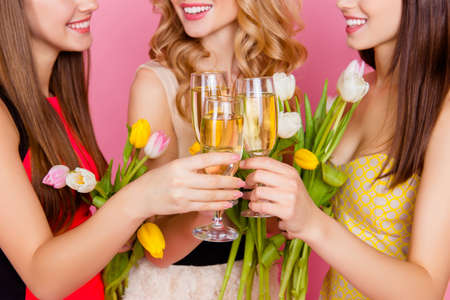 Close up cropped portrait of three, charming, pretty, trendy girls celebrating womens day, 8 march, holding colorful tulips and drinking, clinking glasses with champagne over pink background