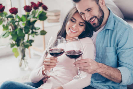 Concept of spending holidays weekends together. Cropped close up photo of attractive excited peaceful cheerful woman and bearded dressed in casual clothes man are clinking and saying toasts