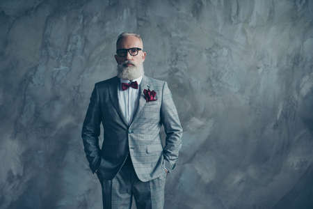 Portrait of wealthy handsome confident rich sharp dressed in checkered grey bespoke tux, white shirt, vinous bow-tie, handkerchief serious respectable financier isolated on concrete wall background