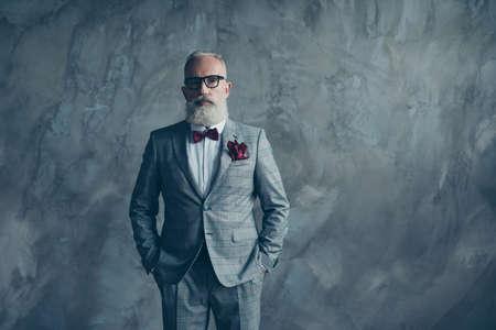 Portret van rijke knappe zelfverzekerde rijke scherpe gekleed in geruit grijs maatwerk smoking, wit overhemd, wijn strikje, zakdoek ernstige respectabele financier geïsoleerd op betonnen muur achtergrond