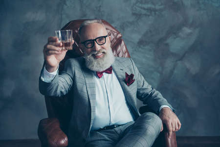 Portrait of bearded, lucky, old rich man in formal wear with bow tie and pocket square, sitting on chair, holding, raise glass with whiskey,  crypto-currency, shares, stock Stock Photo