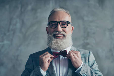 Close up portrait of joyful excited with toothy beaming smile stylish trendy grey-haired groomed sharp dressed elegant smart handsome attractive entrepreneur choose bow-tie isolated on gray background Stock Photo