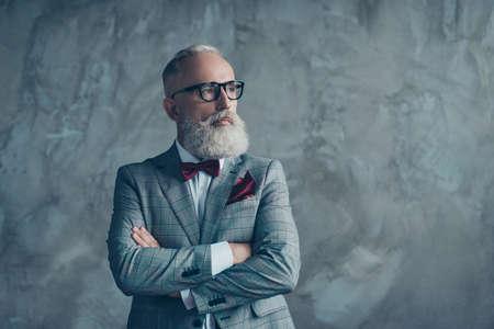 현대 고급스러운 유행 유행 부유 한 지능형 꿈꾸는 잠겨있는 세련 된 영리한 영리한 남자의 초상화 체크 무늬 회색 자 켓 세련 된 적갈색 나비 넥타이