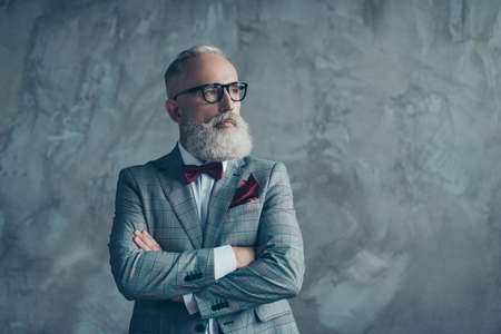 Portrait of modern luxurious trendy wealthy intelligent dreamy pensive stylish authoritative clever man wearing checkered grey jacket chic maroon bow-tie imagine smth, isolated on concrete background Standard-Bild