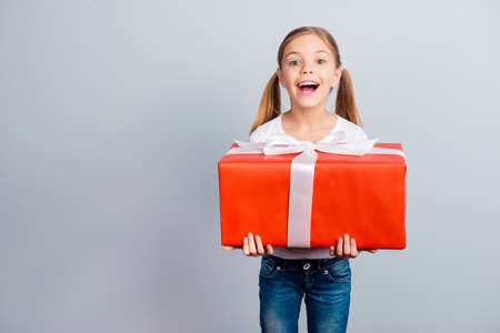 Mother's day fashion beauty leisure face growing-up sale discount relationship concept. Astonished amazed wondered lovely with ponytails sweet girl holding huge wrapped box isolated on gray background