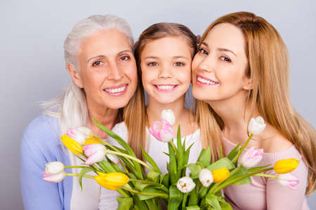 Relatives mama motherhood tender gentle sweet memories feeling people international relationship trust concept. Close up portrait photo of charming beautiful sweet family isolated on gray background