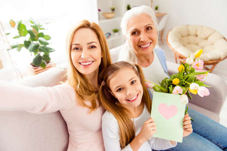 Modern technology sweet memories congrats greetings handmade crafts face closeup rest relax concept. Portrait of adorable cheerful lovely excited careless three family members taking making selfie