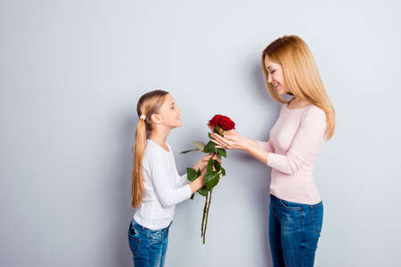 Gentle feelings emotions lovely adorable day-off rest relax people concept. Side profile view photo of sweet cute lovely gentle girl giving mum three roses on long stem isolated on gray background
