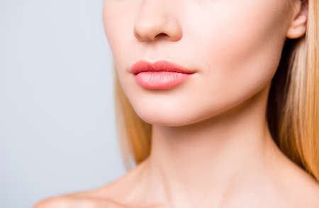 Close up cropped photo of big natural woman's lips without lipstick and perfect skin. Zdjęcie Seryjne - 95427446