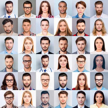 多くの多様な、多民族の人々のクローズアップヘッドのコラージュ、美しい、魅力的な、ハンサムな、かなり表現集中、思慮深い、夢のような感情、灰色の背景に隔離