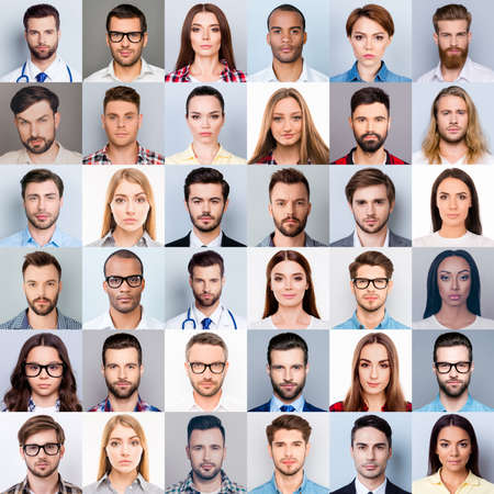 Collage of many diverse, multi-ethnic people's close up heads, beautiful, attractive, handsome, pretty expressing concentrated, thoughtful, dreamy emotions, isolated on grey background Foto de archivo