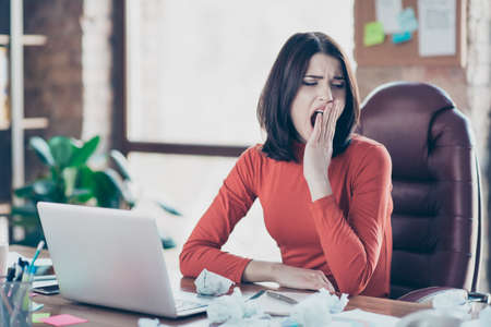 Secretary studying fatigue nerd workaholic daydream hardworking annoying boredom no idea inspiration people person concept. Exhausted frustrated troubled financier economist yawning at workstation