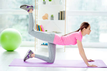 Side profile photo of sportive strong enduring woman wearing gray leggings modern sneakers standing on hands knees putting legs up for building muscles on hips white light room studio club