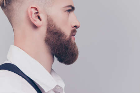 Skin skincare shave irritation concept. Cropped close up half-faced photo of heavy long red beard guy serious thinking pensive serious concentrated planning dreamy manager isolated on gray background Stock Photo
