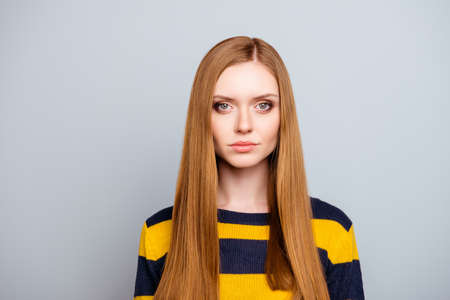Haircare hairstyle hairdo haircut facial concept. Close up portrait of beautiful charming proud cunning stunning confident stylish manager with long healthy straight hair isolated on gray background Stock Photo