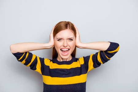Sweater tired grimacing overworked irritated businesswoman staff concept. Close up portrait of sad unhappy upset screaming scared exhausted frustrated woman closing ears isolated on gray background Stock Photo