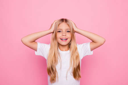 Education holiday elementary pre teens event party celebrate concept. Portrait of shocked charming beautiful cute sweet lovely tender gentle with long smooth straight hair isolated on pink background