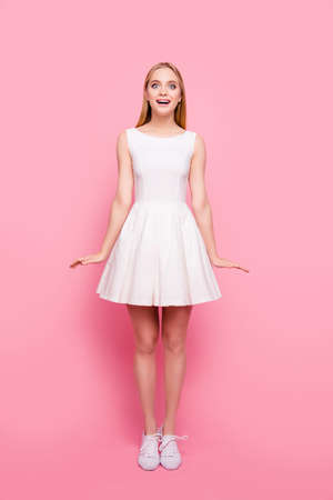 Lady vertical delight rejoice people concept. Full-length full-size portrait of charming chic tender magic classy classic shocked wondered unbelievable girl gesturing like a doll isolated background
