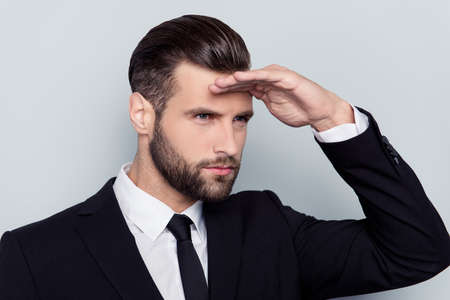 Checking coaching teacher tutor people success professional management concept. Close up portrait of serious smart focused concentrated minded thoughtful strict financier isolated on gray background