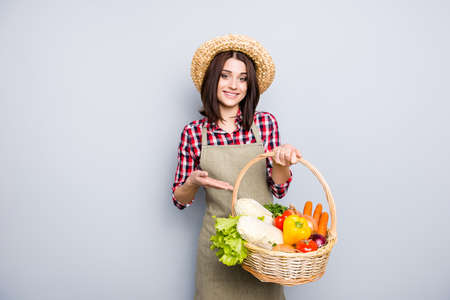 Agriculture business vegan grocery work healthy health straw hay people person concept. Portrait of friendly girl giving  box full of tasty delicious food isolated on gray background copy-space 写真素材