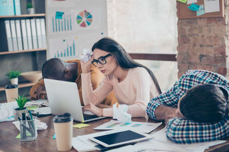 Help! Boring dreamy coffee mulatto diversity together sleepy eyewear frustrated cowork collaboration start-up studying boss chief concept. Tired frustrated unhappy sad upset manager browsing website Stock Photo