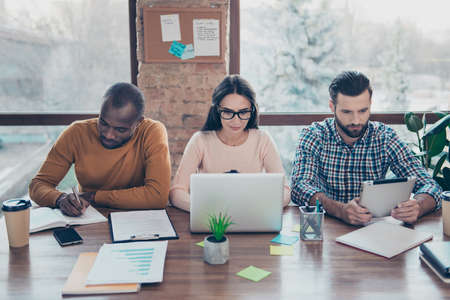 Internet smart meeting gathering brainstorm briefing company finance teambuilding idea employee staff busy plan collaboration email online meeting concept. Three trio partners analyzing income