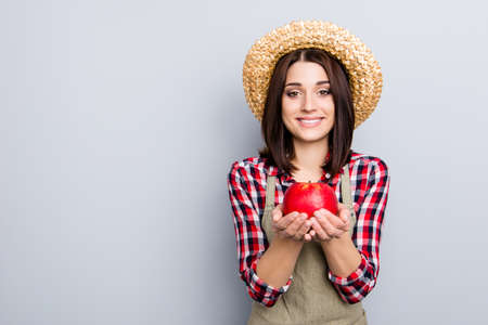 Raw non-gmo gmo-free ideal give people person concept. Portrait of glad cute excited female gardener showing holding in hands eating presenting yummy tasty apple isolated on gray background