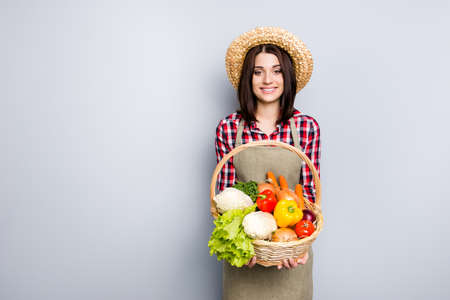 Raw rural store grocery season autumn spring fall checkered shirt straw hay onion pepper carrot cabbage people concept. Portrait of satisfied glad woman carrying basket isolated on gray background Stock Photo