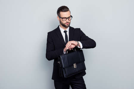 Employment executive handbag lawyer politician people style leadership concept. Stylish punctual impatient smart responsible rich luxurious elegant classic classy man isolated on gray background 版權商用圖片