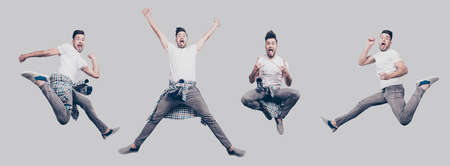Funky joy concept. Collage picture of different pose of cheerful cool funny punk man expressing happiness, jumping, having fun, yelling tongue-out wearing casual clothes, isolated on gray full-length