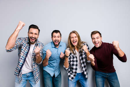 Yeah hooray! Leader lifestyle virile masculinity diversity national proud final triumph match positivity relax rest concept. Cheerful joyful excited men, checkered outfit, isolated on gray background