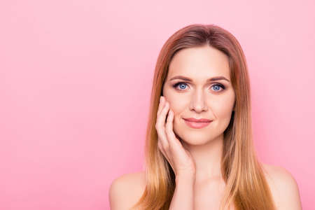 Wellness trend stylish vogue make up clean clear mask feminine hydration collagen apply gel scrub concept. Close up portrait of charming lady enjoying smooth skin isolated background copy-space 写真素材