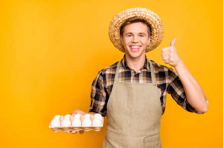 Gro-free non-gmo promo recommend choice choose present eating nutrition healthy care trust enjoy people concept. Portrait of cheerful friendly excited gardener holding eggs isolated on gray background