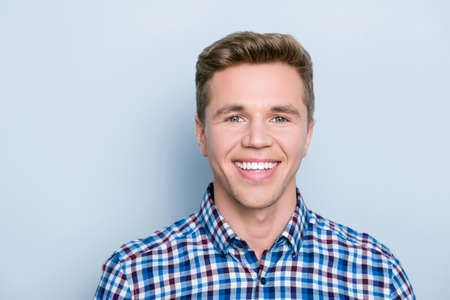 Employer employee person teeth dental dentist concept. Close up portrait of handsome cheerful excited glad friendly rejoicing with beaming smile guy dressed in casual clothes isolated gray background Stock Photo