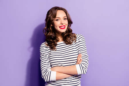 Portrait of nice good girl with modern hairdo white smile holding arms crossed looking at camera isolated on violet background having fun