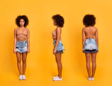 Collage of vertical full-size full-length image portrait of attractive charming calm black woman with perfect tanned skin wearing summer out wear and sneakers, isolated on bright yellow background Фото со стока