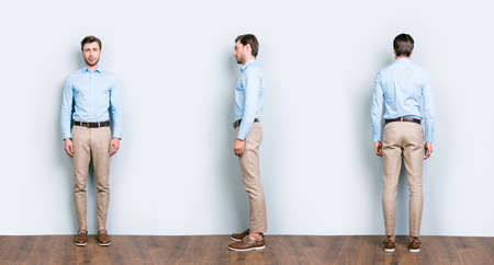 Collage of three full length portrait from all side of perfect, cool, attractive man in blue shirt, pants standing near grey wall on wooden floor 版權商用圖片 - 104436442
