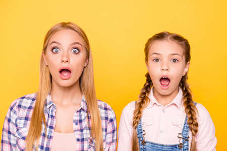 Unbelievable news look camera concept. Close up portrait of two cheerful joyful funky funny comic cute ladies with straight hairstyle pigtails isolated on bright vivid background Banque d'images - 105868904