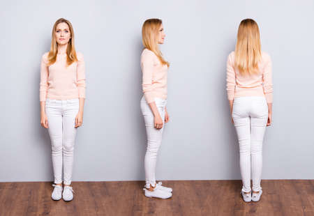 Collage from three sides of charming pretty modern trendy confident woman in white pants sweater sneakers standing on wooden floor over grey background 스톡 콘텐츠