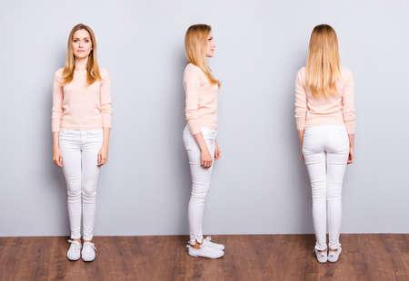 Collage von drei Seiten der charmanten hübschen modernen trendigen selbstbewussten Frau in weißen Hosenpullover-Turnschuhen, die auf Holzboden über grauem Hintergrund stehen