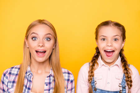 Close up portrait of excited cheerful beautiful lovely cute stylish modern screaming shouting girls isolated on bright background
