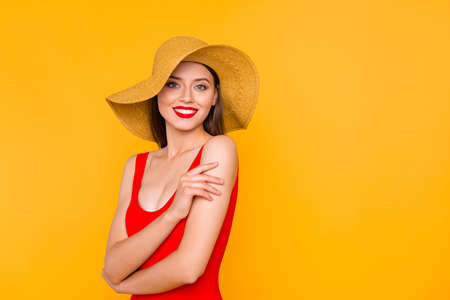Visage maquillage leisure travel lifestyle person resort people concept. Photo portrait of beautiful pretty lady with beaming toothy smile isolated bright background copy-space Stock Photo