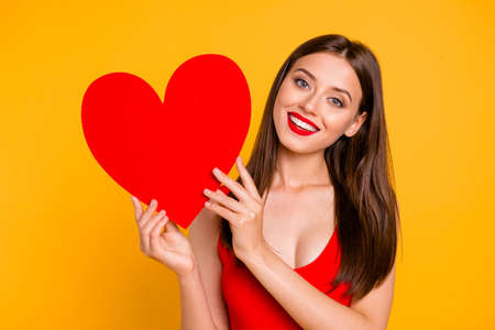 Im looking waiting for partner! Advertising people person relationship couple concept. Close up photo portrait of excited delightful joyful funny fancy girlish lady showing heart isolated background 写真素材