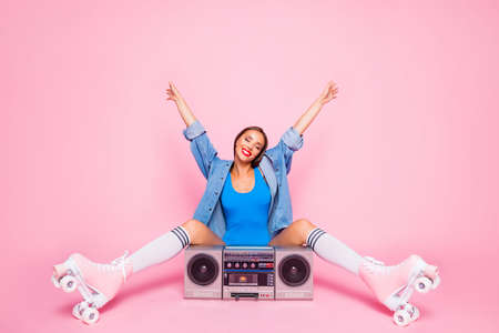 Happiness rejoice careless people person concept. Full length size photo portrait of pretty cheerful funky wearing casual outfit lady raising hands up isolated pastel background Stock Photo