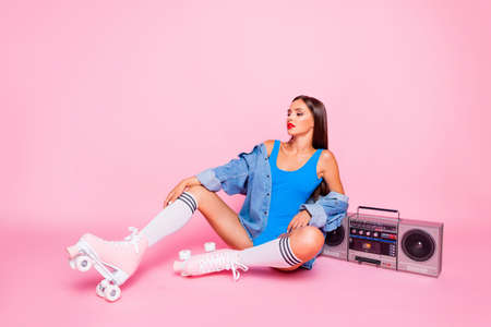 Luxury people person glamorous street style concept. Full body length size studio photo portrait of beautiful posing pretty with red lipstick lady sitting floor isolated shine color pastel background Stock Photo